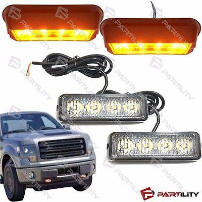 2x 4-led Amber Yellow Warning Emergency Beacon Strobe Flash Light Bar Car Truck