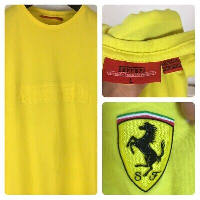 Ferrari T Shirt Official Licensed Product L Large Yellow Embossed Spell Out