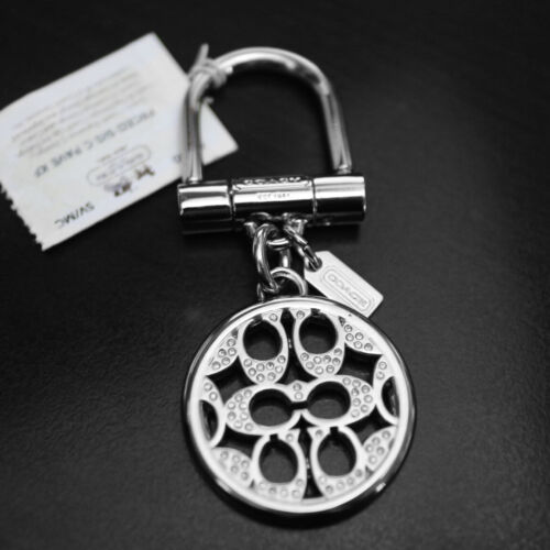 NEW COACH Signature Optic Snaphead Pave Crystal Silver Keychain Keyring Key FOB