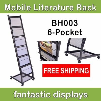 6-shelf Mobile Literature Rack Brochure Holder And Magazine Stand On Casters