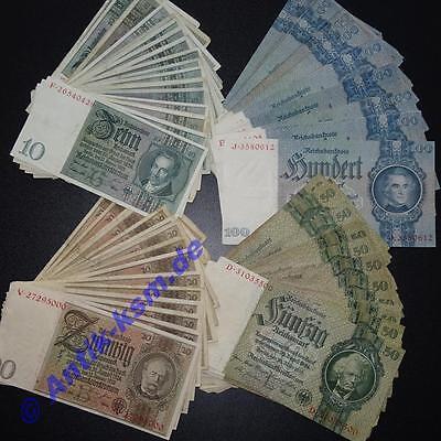 Lot 4 Banknoten deutsches Reich : 10,20,50 und 100 Mark / Reichsmark 1929 - 1935
