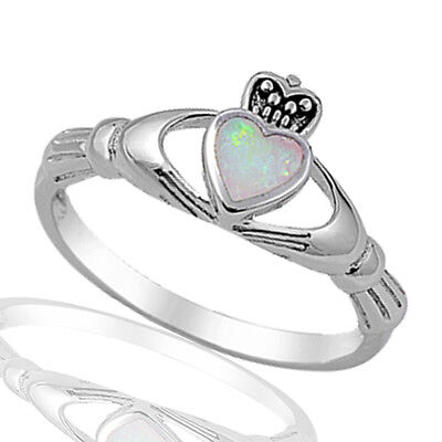 White Fire Opal Irish Heart Claddagh Celtic Sterling Silver Ring Size 3 - 12 (Opal-irish Ring)