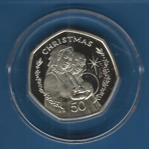 1990 Gibraltar 50p Madonna and Child Christmas Coin