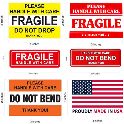 Fragile Sticker Do Not Drop Handle With Care Made In Usa Flag Do Not Bend Thank