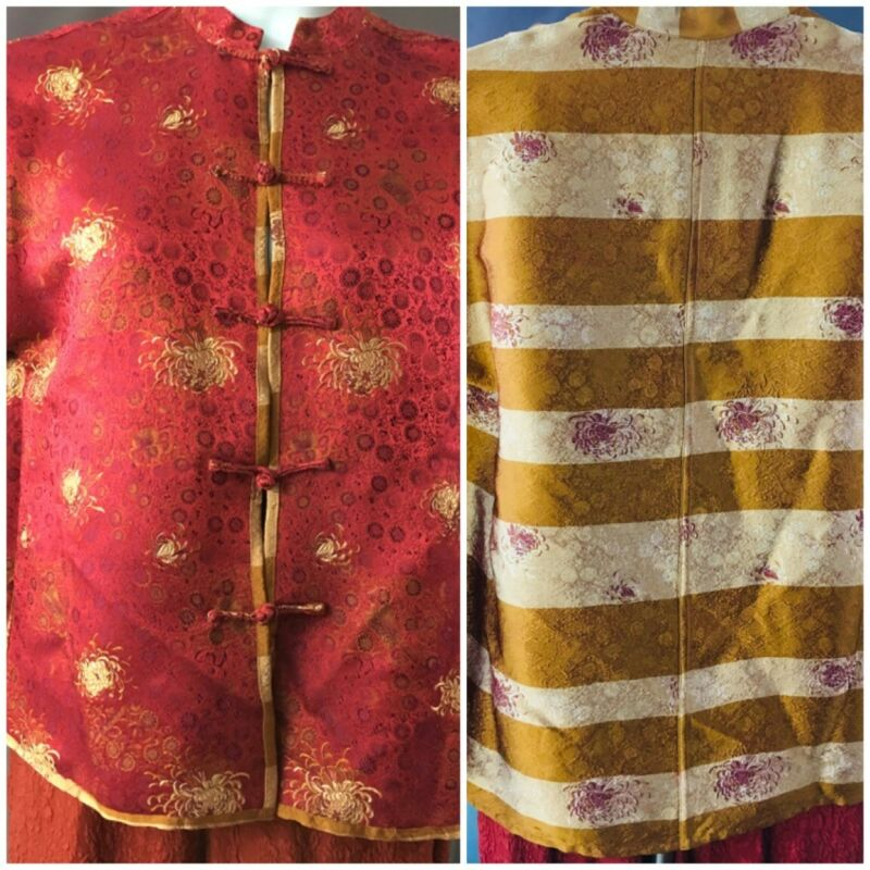 Tang-style Reversible Jacket - Red Floral + Gold Stripe Brocade L