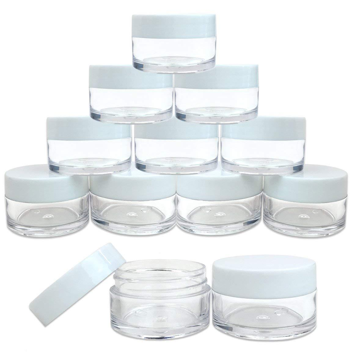 Beauticom 12 Pieces 20G/20ML Round Clear Jars with WHITE Lid