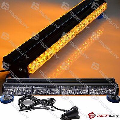 25 inch 144W LED Amber Light Magnet Warn Strobe Flashing Bar Hazard Roof Yellow Led Emergency Vehicle Lights