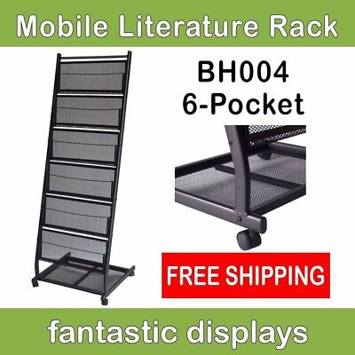 Literature Rack - 6-Pocket Mobile Literature Display Rack and Magazine Shelf on Rolling Casters