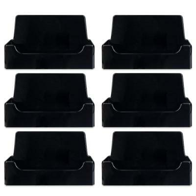 6pcs Black Acrylic Single Compartment Desktop Business Card Holder Display Stand