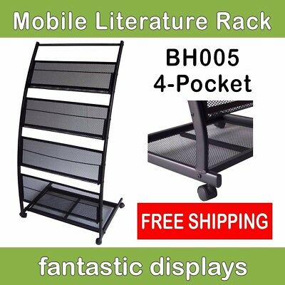 Mobile Literature Rack And Magazine Stand - Wide Shelves On Casters