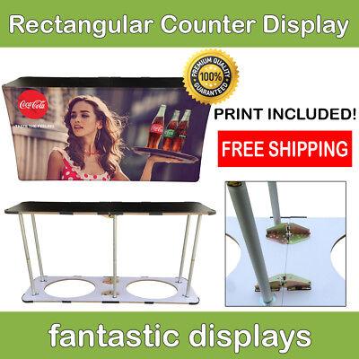 Trade Show Podium Promo Counter Rectangular Folding Pop Up Display For Exhibit