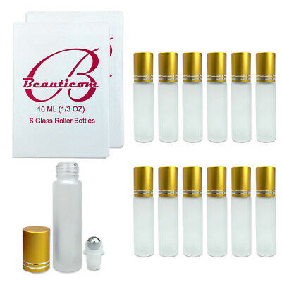 12pcs 10ML Frosted Glass Roller Bottles with Stainless Steel Ball and Gold Cap