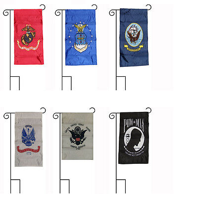 12x18 Embroidered 5 Branch Military POW MIA Sleeved Garden Stands 12
