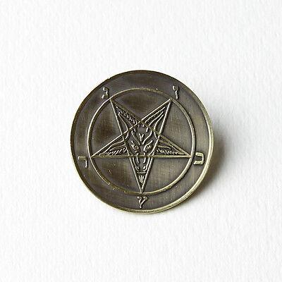 Sigil of Baphomet Brass Coated Pin - Pentagram Satan Venom Mayhem Goat Leviathan