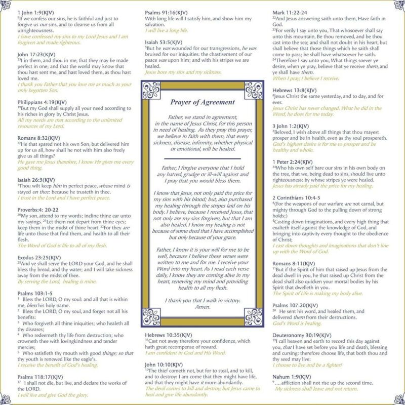 "Faith Prayer Cloth Healing Scripture 20"" x 19"" Encouragement Gift"