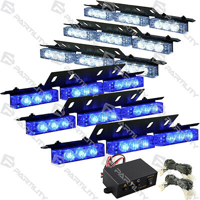 54 Led White Blue Emergency Truck Car Strobe Flash Light Front Rear Grill