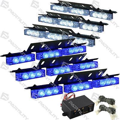 54 LED White Blue Emergency Truck Car Strobe Flash Light Front Rear Grill