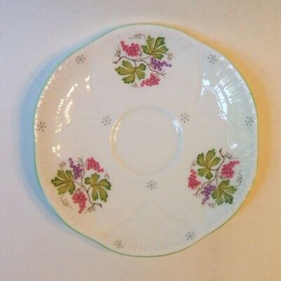 Shelley China England Orphan Saucer Purple Pink Grapes Dainty Green Trim 5.75 In