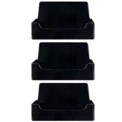3pcs Black Acrylic Single Compartment Desktop Business Card Holder Display Stand
