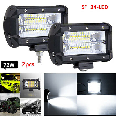2x 5'' 72W LED Work Light Bar Flood Driving Lamp Jeep Truck Boat