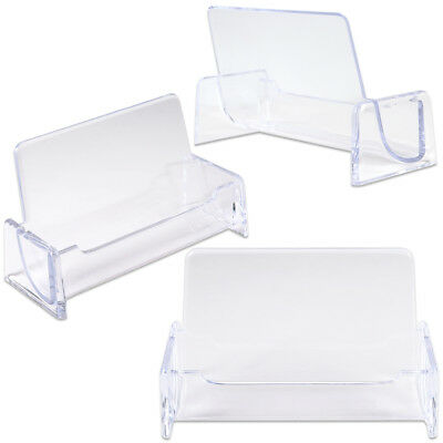 3pcs Clear Acrylic Compartment Desktop Business Card Holder Display Stand