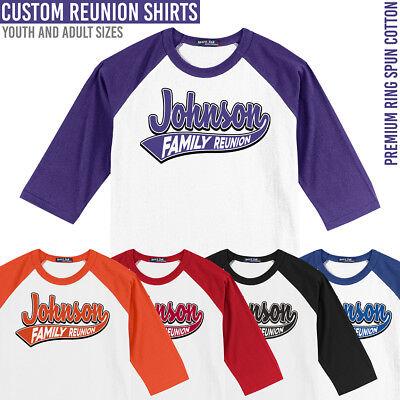 - Family Reunion Baseball Shirts **** Custom Jersey Style **** Add a Family Name
