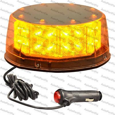 32 Led Amber Beacon Magnetic Light Emergency Warning Strobe Yellow Roof Round