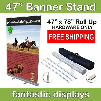 47 Retractable Roll Up Banner Stand - Holds 34-78 Tall Banners
