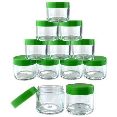12 Pieces 30G/30ML Round Clear Cosmetic Sample Jars Container Green Lid BPA Free