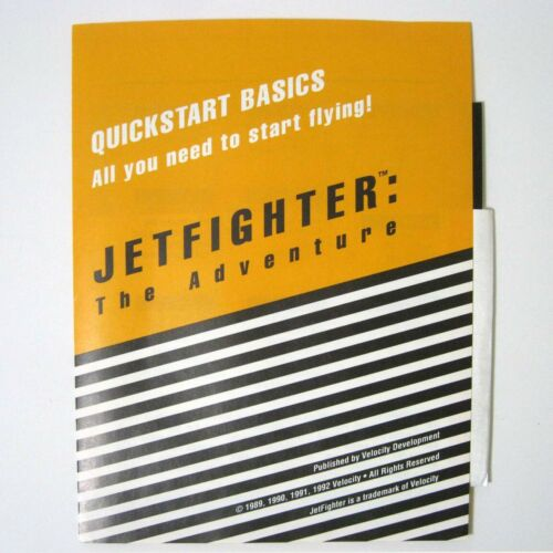 "JETFIGHTER ™ The Adventure © 1990 Velocity - On 5.25"" Floppy - For IBM - New"