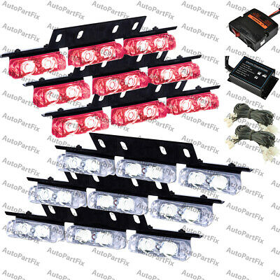 High Power Red White Led Emergency Warning Strobe Lights Bars Car Dash Grill