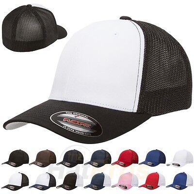 Flexfit® 6511 Trucker Mesh Baseball Cap Plain Blank Hat Curved Visor Flex Fit