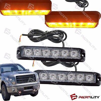 2x Led Amber Yellow Warning Marker Construction Strobe Flash Light Grill Truck