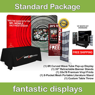 Complete Trade Show Booth 8 Backdrop Banner Stand Table Throw Catalog Rack