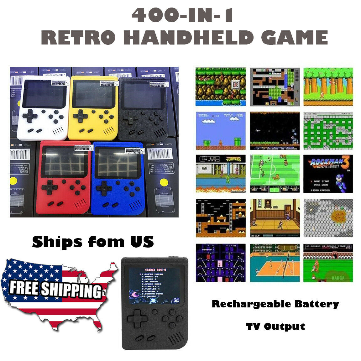 400 in 1 Retro Handheld Gameboy Style Console Classic US Seller