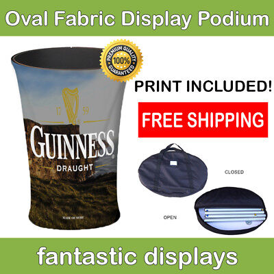 Trade Show Podium Promotion Counter Oval Fabric Pop Up Display For Exhibit Booth