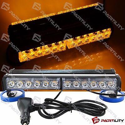 13 Inch 72w Led Amber Yellow Light Construction Warning Strobe Bar Roof Magnet