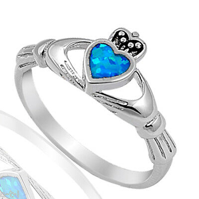 Blau Feuer Opal Irish Heart Claddagh Keltisch Sterlingsilber Ring Größe 3 - 12 (Opal-irish Ring)