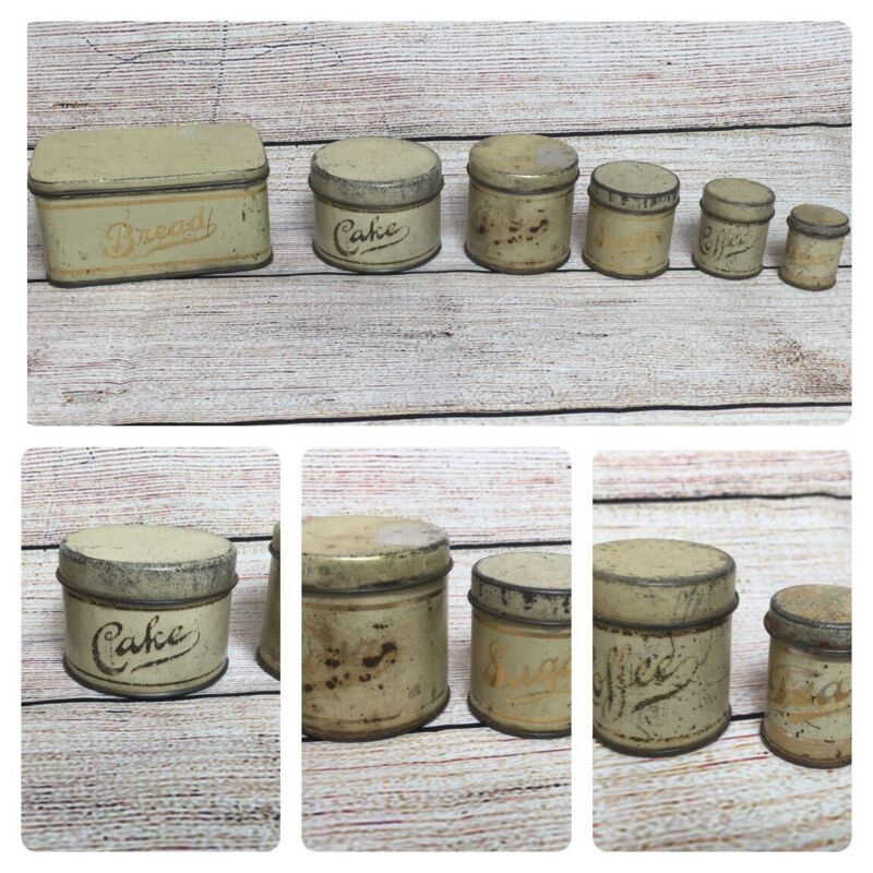 Vintage Toy Tin Metal Canister Set Childs Kitchen American Cream Gold Set of 6
