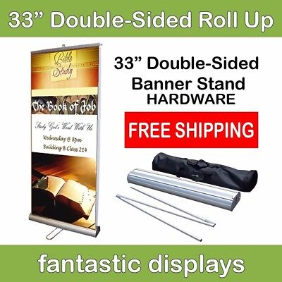 Double-sided 33 Retractable Roll Up Banner Stand For Trade Show Banners