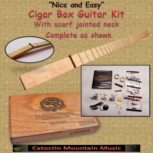 "Cigar Box Guitar Complete Kit, as shown for 25.5"" S/L  with a Scarf Jointed Neck"