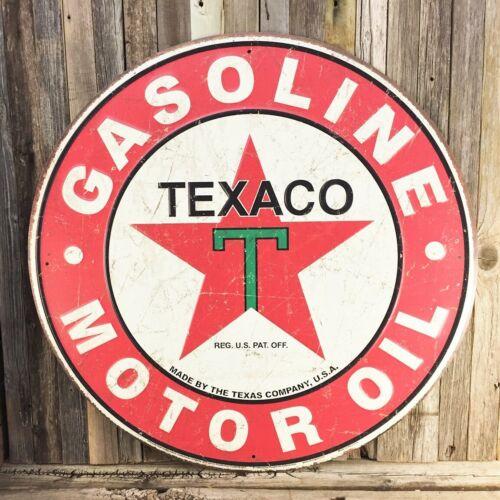 """Texaco Oil Gasoline Gas Round Rustic Large 27"""" Metal Embossed Aluminum Sign New"""