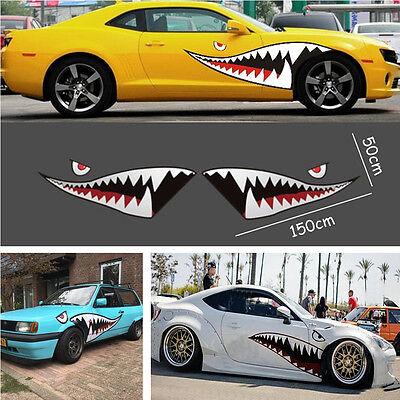 2x59'' Shark Mouth Tooth Flying Tiger Sticker Vinyl Car Exterior Side Door Decal