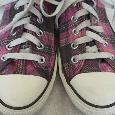 Plaid Pink & Gray Converse Low Top All Star  Lace-Up Sneakers  (US 9 UK 7 EU 40) Plaid Low Top Sneaker