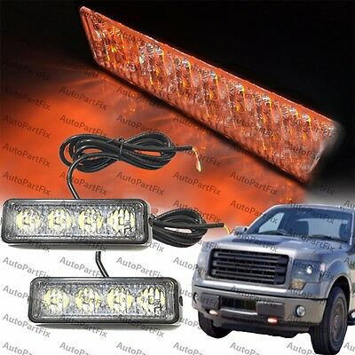 2x 4-led 4w Emergency Security Grill Marker Flash Strobe Light Yellow Amber