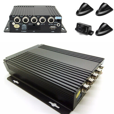 Car Truck 4CH Mobile DVR Security Video Recorder with 4Pcs Camera G-Sensor 8-36V