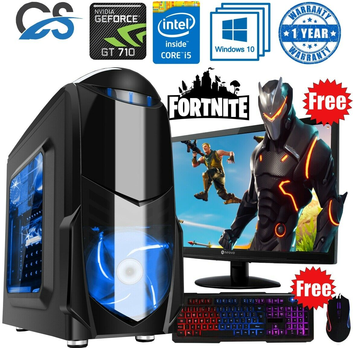 Computer Games - FAST Gaming Computer PC Bundle Intel Core i5 8GB 480GB SSD Windows 10 2GB GT710