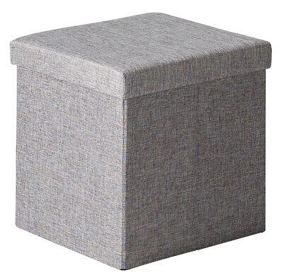Puff tela gris cuadrado almacenaje plegable pouf tapa habitacion salon 41x40x40