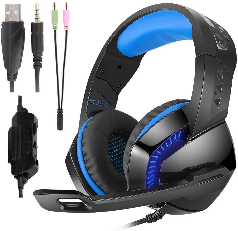 Gaming Headset LED Mikro Lautstärkeregler 3,5mm Klinke PS4 PC XBox One Switch
