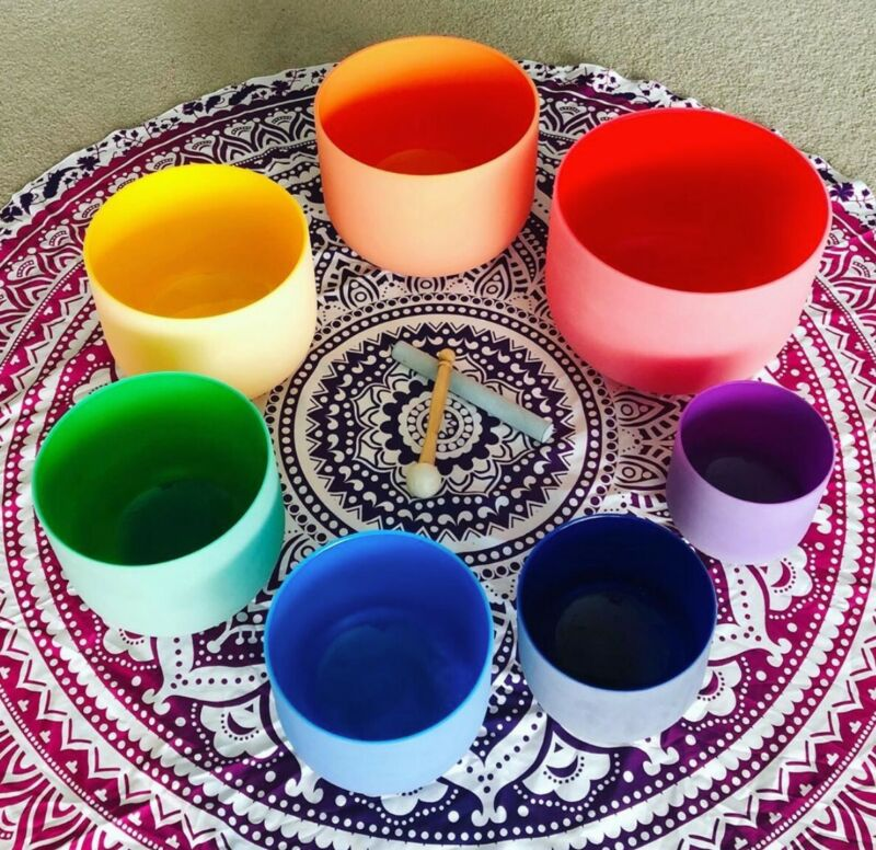 Crystal Singing Bowls Solid Colour Chakra Set of 7, Perfect For Sound Healings